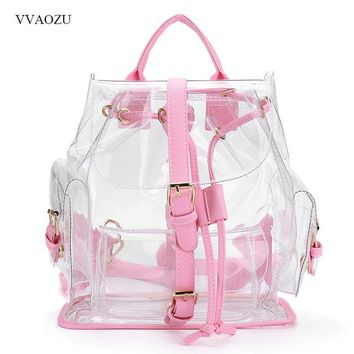 Harajuku Women's Summer Backpack Clear Plastic PVC Transparent Shoulder Bag Ladies Travel Bag Schoolbag Satchel Mochila Feminina