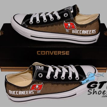 Hand Painted Converse Lo. Tampa Bay Buccaneers, Football. Handpainted shoes.