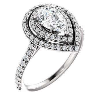 0.75 Ct Pear Halo-styled Diamond Engagement Ring 14k White Gold