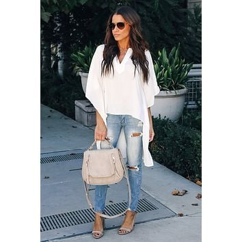 White Chic Flowy Style  High Low Blouses Top
