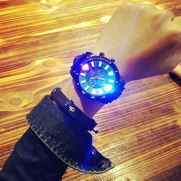 Casual Sports Light Up Silicone Strap Watch Lover Watches + Gift Box-465