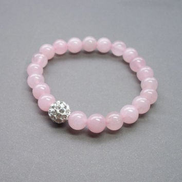 Sparkly pink Rose quartz stretch bracelet with bling crystal ball bead perfect for Stacking