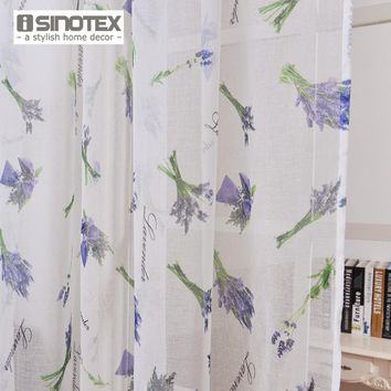 Transparent Window Curtain with Lavender Printed Pattern