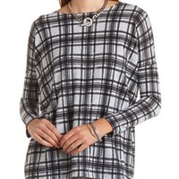 Long Sleeve Plaid Top by Charlotte Russe