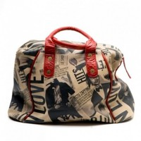 Newspaper Print Leather Tote Bag - Sous les toits de Paris