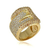 14K Gold Over Sterling Silver Cubic Zirconia CZ Buckle Fashion Ring #r173