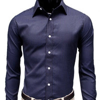 Vertical Stripe Shirt Collar Long Sleeve Shirt