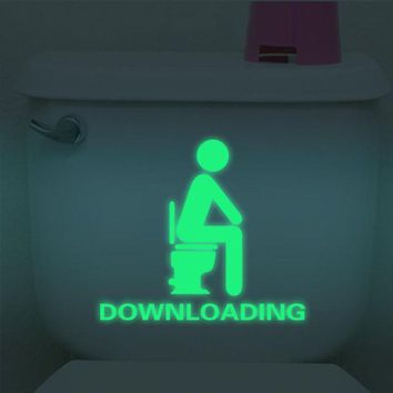 VONFC9 Bathroom Luminous Sticker Toilet Fluorescent Wall Sticker Removable Sticker glow in the dark