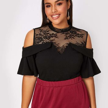 Plus Size Cold Shoulder Lace Yoke Top