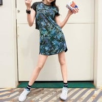 """Adidas Neo"" Women Sport Casual Print Short Sleeve Medium Long Section T-shirt Mini Dress"