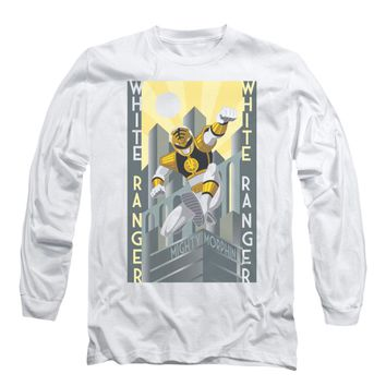 Power Rangers Men's  White Ranger Deco Long Sleeve White Rockabilia