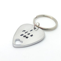 i pick you - hand stamped keychain - keyring - personalised - guitar pick - plectrum - love heart - valentines