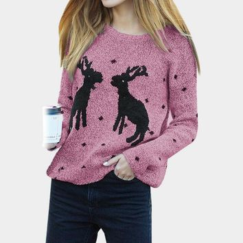 Womens Knitwear 2018 Ugly Christmas Sweater With Deer Long-sleeved Pullovers Casual Solid Sweaters Knitted Cheap Wool Jumper Top