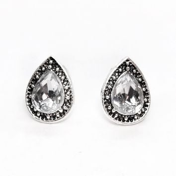 ON SALE - Marcasite Clear Pear Halo Stud Earrings