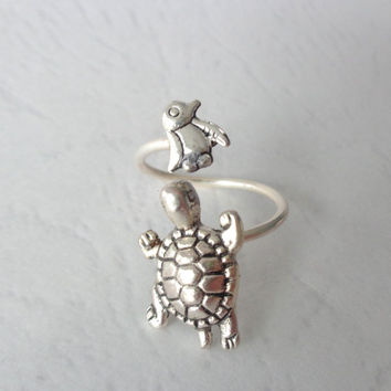 silver penguin turtle ring wrap style