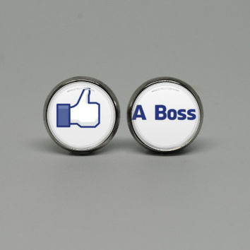 Silver Stud Post Earrings with Like a Boss