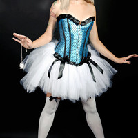 Alice : EVERYTHING INCLUDED Fantasy Fairy Cos-Play Costume Blue White Tulle Skirt Burlesque Adult Women's