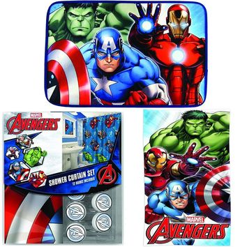 Disney Marvel New Shower Curtain & Hooks & Bath Towel & Memory Foam Mat Set (Avengers, 15pcs Set)