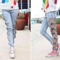 Vintage Detailed Woman's Retro Side Bow Cutout Ripped Denim Sexy Jeans Leggings