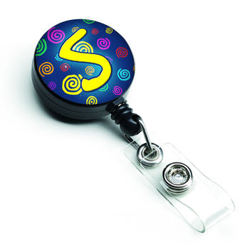 Letter S Initial Monogram - Blue Swirls Retractable Badge Reel CJ1011-SBR