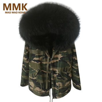 2017 Women Winter Camo Parkas Large Raccoon Fur Collar Hooded Coat Outwear 2 in 1 Detachable Lining Winter Jacket Brand Style