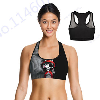 Cartoon Bleach Sports Bra Tops Cute Red Cloak Skulls Yoga Bra Crop Tops Skeleton Jogging Padded Bra Fitness Running Brassiere