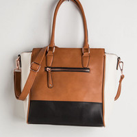 Colorblocking Triple the Charm Bag in Cognac by ModCloth