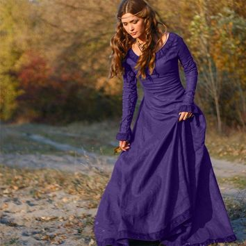 Classical Vintage Long Dress Women Medieval Long Sleeve O-Neck Cosplay Costume Princess Renaissance Gothic Dress Lady Girls XXXL