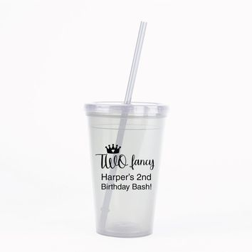 2nd birthday party favors, little girl princess birthday, two fancy, personalized tumbler cups