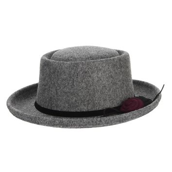 2017 New Solid Color Floral Women Woolen Fedoras Wide Brim Flat Hat Winter Warm Felt Caps Church Elegant Lady Panama Hat
