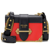 Prada Cahier Notebook Shoulder Bag, Red/Black