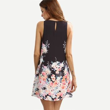 Dress Ladies Multicolor Floral Round