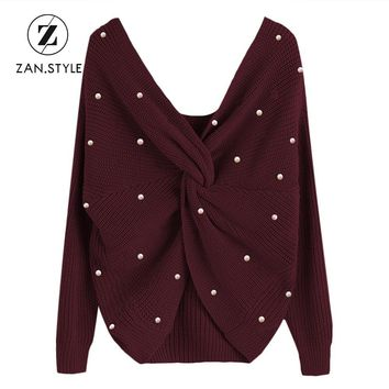 ZAN.STYLE Fashion Women Pearly V Neck Back Twist Sweater Long Sleeve Knitted Sweaters Casual Women Jumpers Pullovers Pull Femme