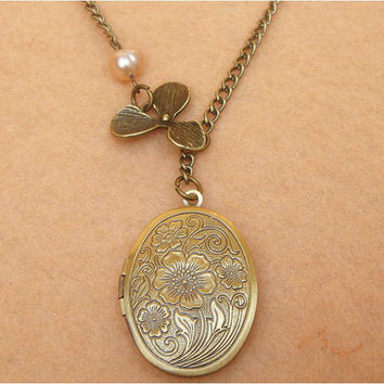 Orchid Flower Locket and Pearl Necklace by turquoisecity on Etsy