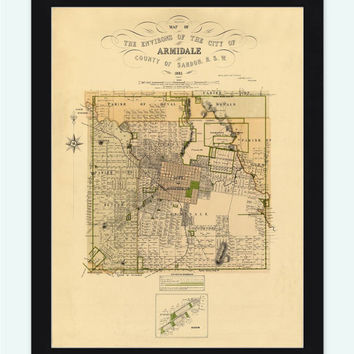 Vintage Map of Armidale City ,Australia 1881