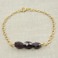 Garnet Bracelet Gold Chain Simple Everyday Bracelet Semiprecious Stone Jewelry January Birthday