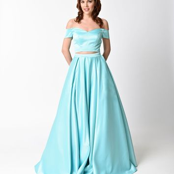 Mint Off The Shoulder Two Piece Dress