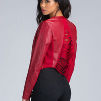 Slit To Fit Faux Leather Jacket