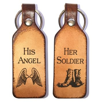 Her Soldier & His Angel Leather Keychains
