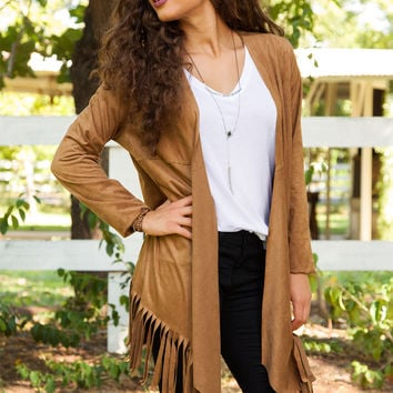 Prizefighter Fringe Cardigan - Tan