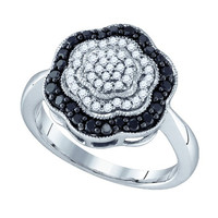Black Diamond Fashion Ring in 10k White Gold 0.51 ctw