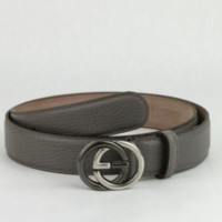 $485 New Gucci Men's Grey Leather Belt with GG Buckle 295704 1226