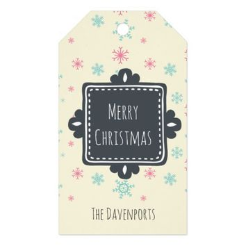 Pink And Blue Snowflakes Merry Christmas Custom Gift Tags