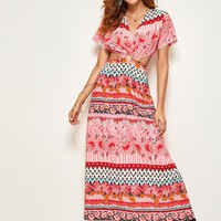 O-ring Cut-out Waist Mixed Print Dress