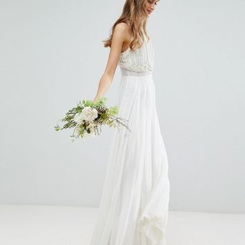 ASOS EDITION Maxi Wedding Dress with Pearl Crop Top at asos.com