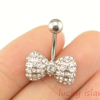little bow belly button rings,gemstone bow bellybutton jewelry,navel ring,body piercing,friendship bellyring