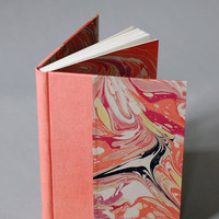 Marbled Journal in Coral, Cerise, and Green with Coral Linen Binding