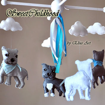 Baby Puppy Cloud Mobile, dog mobile, baby crib nursery mobile, gift for boy, staffy mobile, grey & blue gray yellow pink, felt animal mobile