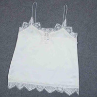 New Arrival Sexy Women Chiffon Tank Tops White Lace Bustier Vest Tops Women Girls Bralette Shirt Cami #1205 GS