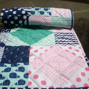 Nautical Baby quilt,patchwork crib quilt,baby girl bedding,baby quilt,hot pink,pink,navy blue,mint green,chevron,toddler,anchors,Whale Toss